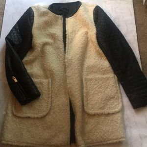 Zara Quilted Leather Shearling Jacket